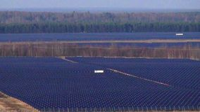 Large industrial solar panel array overview shot. Renewable energy concept stock footage