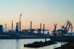Large industry area in a Dutch harbor Royalty Free Stock Photo