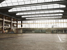 Large Interior grunge framed warehouse. With an empty floor Royalty Free Stock Photo