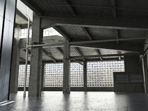 Large Interior grunge framed warehouse with an empty floor Stock Photo