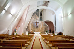 Large interior of modern church. Interior shot of an large modern catholic church with high ceiling Stock Photo