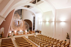 Large interior of modern church. Interior shot of an large modern catholic church with high ceiling Stock Photos
