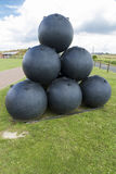 Large iron balls for Victorian mortar. Royalty Free Stock Image