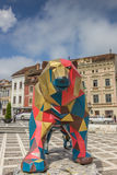 Large iron statue of a bear at Piata Sfatului in Brasov Stock Image