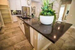 Large Island Kitchen Counter In Modern Kitchen stock photos
