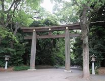 Large Japanese Torii Gate to the  Garden Stock Photography