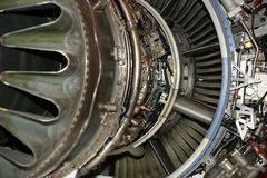 Large jet engine detail viewed from below Stock Images
