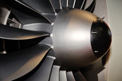 Large jet engine turbine blades Royalty Free Stock Images