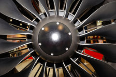 Large jet engine turbine blades royalty free stock photo