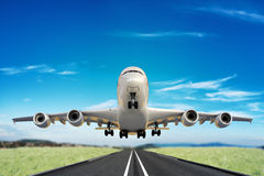 Large jet taking off runway. 3d model scene Stock Photography