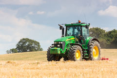 Large John Deere tractor working field Royalty Free Stock Photo