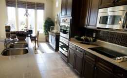 large kitchen area in luxury home royalty free stock images