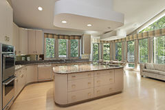 Large kitchen with center island Stock Photography
