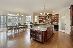 Large kitchen with eating area Stock Photo