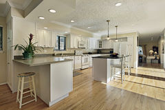 Large kitchen with granite island top Royalty Free Stock Photography