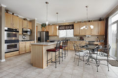 Large kitchen with island Stock Photography