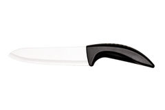 Large kitchen knife with a plastic handle on white background Royalty Free Stock Photography