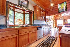 Large kitchen lof cabin house interior. Royalty Free Stock Images