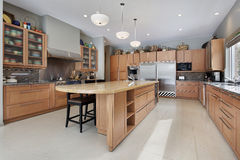 Large kitchen in luxury home Stock Image