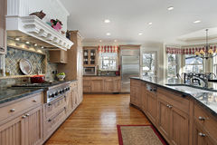 Large kitchen in modern home Royalty Free Stock Image