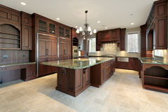 Large kitchen in new construction home Stock Images