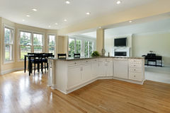 Large kitchen in remodeled home. With eating area Stock Photo