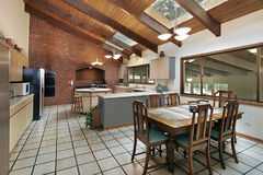 Large kitchen with skylights Stock Images