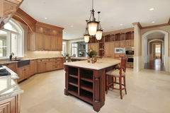 Large kitchen with wood cabinetry. Huge modern kitchen with island and wood cabinets Royalty Free Stock Photos