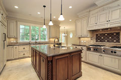 Large kitchen with wood cabinetry Royalty Free Stock Photos