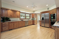Large kitchen with wood cabinetry Stock Photography