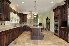 Large kitchen wood cherry wood cabinetry royalty free stock image