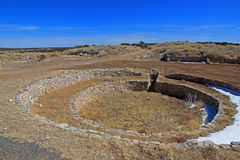 Large kiva with bench, Salinas ruins Royalty Free Stock Photos