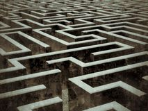 Large labyrinth. A 3D-modeled labyrinth, problem solving and navigation concept Stock Image