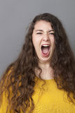 Large lady shouting at you Royalty Free Stock Photography