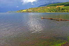 Large lake landscape and rainbow in Chile Royalty Free Stock Photo