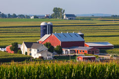 Large Lancaster County Amish Farm in Valley Royalty Free Stock Photos