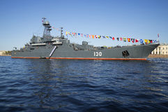 Large landing ship the `Korolev` in the Neva river on the celebration of Victory Day. Saint Petersburg Stock Photos