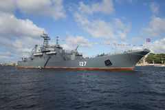 Large landing ship Minsk on the celebration of Navy Day. Saint Petersburg Royalty Free Stock Photography