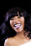 Large Laugh African American Woman Open Mouth Stock Image