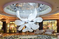 Led crystal chandelier  lighting  in hotel hall Royalty Free Stock Images
