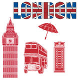 Large letters with four solid red objects of London Stock Photos
