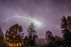 Large lightning in the night. Large and bright lightning in the night Stock Photography