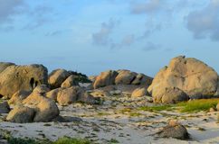 Large Limestone Rock Formations on the Sand in Aruba Royalty Free Stock Image