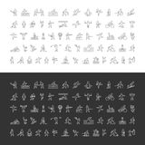 Large line set of sports icons. Vector linear symbol of sportsme Stock Images