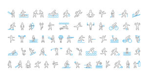 Large line set of sports icons. Vector linear symbol of sportsme