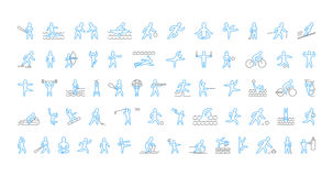 Large line set of sports icons. Vector linear symbol of sportsme Stock Photos