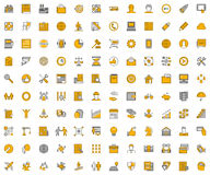 Large linear  icons for business. Royalty Free Stock Photo
