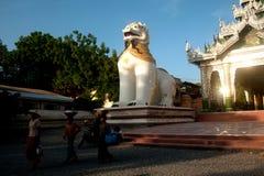 Large lion guardian at Maha Muni temple,Myanmar. Royalty Free Stock Photography