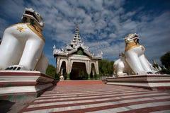 Large lion guardian at Maha Muni temple,Myanmar. Stock Image
