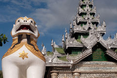 Large lion guardian at Maha Muni temple,Myanmar. Royalty Free Stock Image